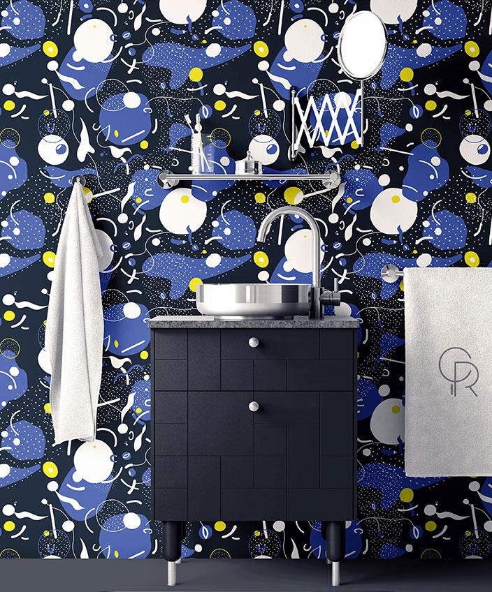 quinsai - papier peint bleu marine - thomas dariel -meuble de salle de bain bleu marine - signatures singulieres magazine